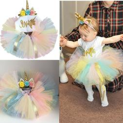 1 Year Baby Girl Birthday Unicorn Dress Outfits Infant Party