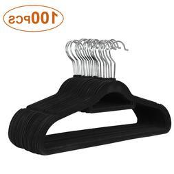 100Pack Premium Non-Slip Flocked Velvet Hangers Clothes Hang