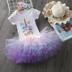 1st Birthday Unicorn Headband Party Outfits Sets Baby Girls