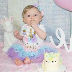 1st Birthday Unicorn Party Dress Outfits Sets Baby Girls Clo