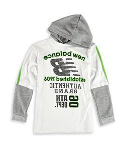 New Balance Boys 2 Fer Hooded Graphic T-Shirt, Whitegray, 14