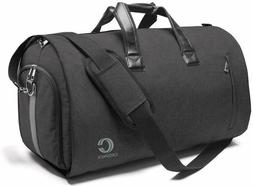 20 Inch Travel Bag with Suits and Shoes Compartment - Black