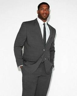 Express $298 Slim Charcoal Gray Check Stretch Wool-Blend Sui