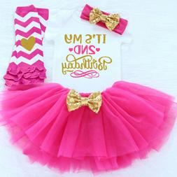 2nd Birthday Baby Dress Tutu Girl Cake Outfits Sets Party To
