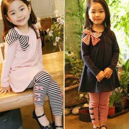 2pcs Girls Kids Bow Tops Shirt Dress Striped Pants Tracksuit