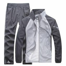 2PCS Men Tracksuit Sport Jacket Pants Casual Sport Jogging A