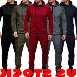 2PCS Men Tracksuit Sport Jacket+Pants Casual Sport Jogging A