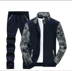 2Pcs Mens Cotton Blend Camouflage Sport Suits Sport Coats Pa
