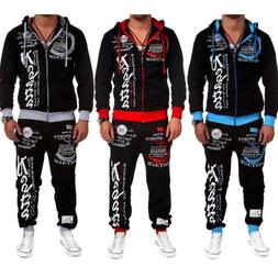 2pcs mens slim fit tracksuit sportswear jogging