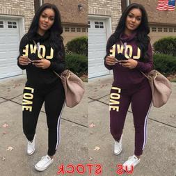 2Pcs Women Hoodie Sports Tops Pants Tracksuit Sweatshirt Swe