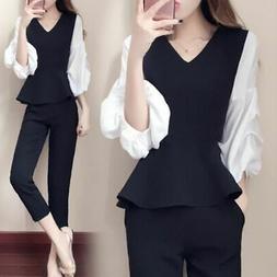 2Pcs Women's OL Casual Loose Puff Sleeve T-Shirt +Slim Black