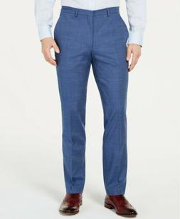 $325 Cole Haan Men'S Blue Slim Fit Trousers Flat Suit Pindot