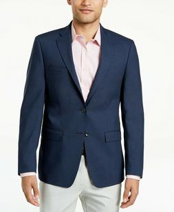 $350 Calvin Klein Men's Slim-Fit Navy Black Check Wool Sport
