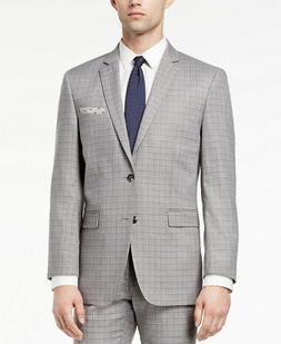 $375 Perry Ellis Mens Slim Fit Gray Mini-Windowpane 2pc Suit