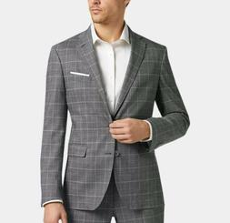 Cole Haan 38R Suit NEW gray windowpane coolmax lined slim fi