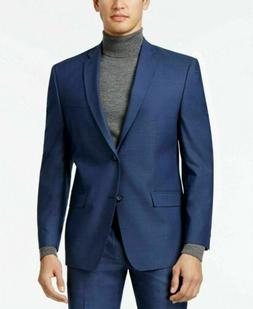 $395 Andrew Marc Men's Stretch Classic-Fit Blue Neat Suit 42