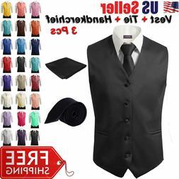 3Pcs SET Men's Formal Vest Slim Tie Hankie Causal Fit Tuxedo