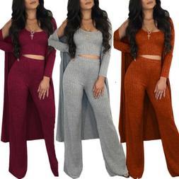 3pcs Women Vest Long Pants Knitting Suit Long Cape Solid Jum