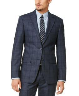 Calvin Klein Men's Slim-Fit Blue Plaid Suit Jacket 42S