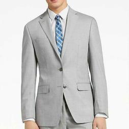 $450 Calvin Klein Slim Fit Sharkskin Light Grey Suit Jacket