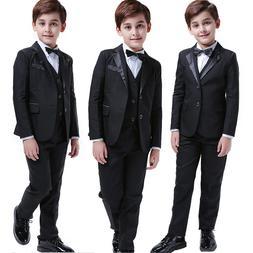5 Pcs Kids Boys Suits Formal Children Tuxedo Wedding Blazer
