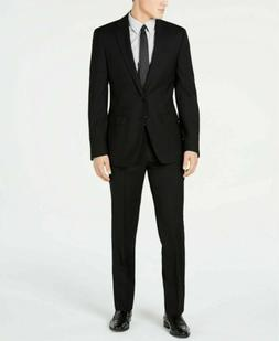 $600 Calvin Klein Black Solid Slim X Fit Suit 36S / 29W Flat