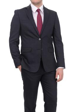 $650 Calvin Klein Extreme Slim Fit Mens Blue Plaid 2 Button