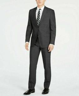$650 Calvin Klein Men's Slim-Fit Charcoal Herringbone Suit 4