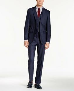 $650 Calvin Klein Men's Slim-Fit Stretch Blue Check 2PC Suit