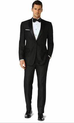 $700 Premium Men's Big & Tall Black 100% Wool 2 Piece Tuxedo