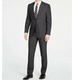 $700 Calvin Klein Men's Slim-fit Charcoal Herringbone Suit