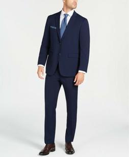 $710 Perry Ellis 38R Men's Blue Slim Fit 2 Piece Suit Solid