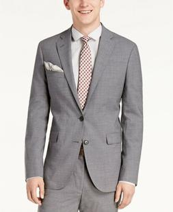 $745 Cole Haan Men'S 44r Slim Fit Wool Suit Gray Solid Sport