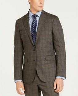 $765 Cole Haan Men'S 38r Slim Fit Wool Suit Brown Plaid Spor