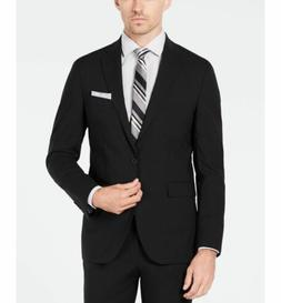 $785 COLE HAAN Men's 42R Slim Fit Wool Suit BLACK SOLID SPOR
