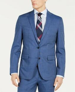 $795 COLE HAAN Men's 44R Slim Fit Wool Suit BLUE SOLID SPORT