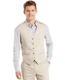 $89 Perry Ellis Big Tall Tan Linen Vest LT, XLT, 2XLT, 3XLT,