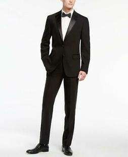 $900 CALVIN KLEIN Men BLACK EXTREME SLIM FIT WOOL TUXEDO SUI
