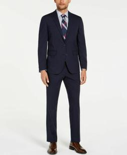 $999 Cole Haan 42l Mens Blue Slim Fit Wool 2-Piece Grid Suit
