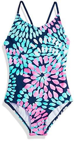 Kanu Surf Girls' Big Daisy Beach Sport 1-Piece Swimsuit, Nav