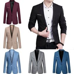 Men's Casual Slim Fit One Button Suit Blazer Business Work C