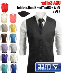 SET Vest Tie Hankie Fashion Men's Formal Dress Suit Slim Tux