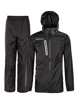 SWISSWELL Mens Rain Jacket & Trouser Suit Black X-Large