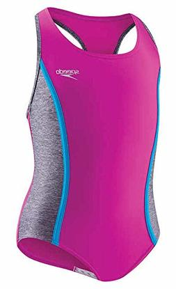 Speedo Girls Racerback Keyhole One Piece Swimsuit Sporty Spl