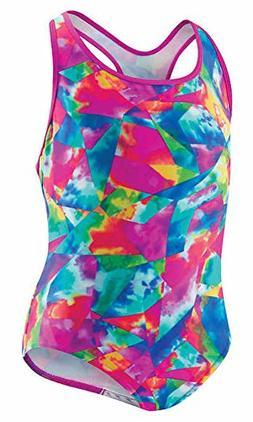 Speedo Girls Tie Dye Sky Racerback One Piece Swimsuit Multi