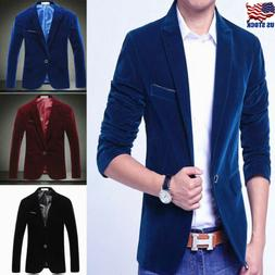 Stylish Mens Casual Slim Fit One Button Velvet Suit Blazer C