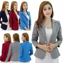 Women One Button Slim Casual Business Blazer Suit Jacket Coa
