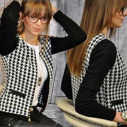 Women Zip Up Blazer Suits Houndstooth Short Jacket Casual Sl