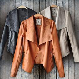 Womens Stylish Jacket Blazer Slim Fit PU Leather Punk Suit C