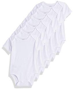 Amazon Essentials Baby 6-Pack Short-Sleeve Bodysuit, White,